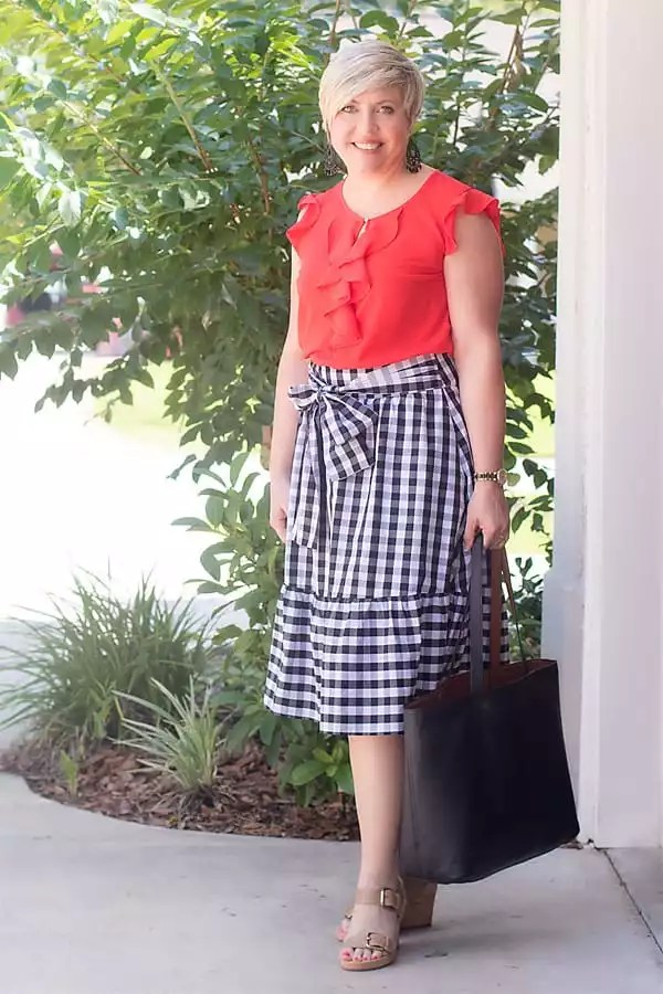 bright ruffle top with gingham skirt