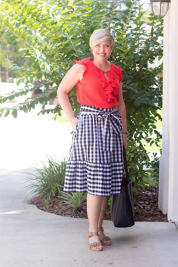 tie waist gingham skirt
