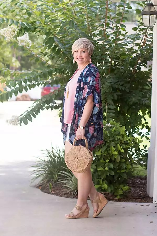 tassel earrings, summer outfit, summer fashion, kimono outfit, straw bag