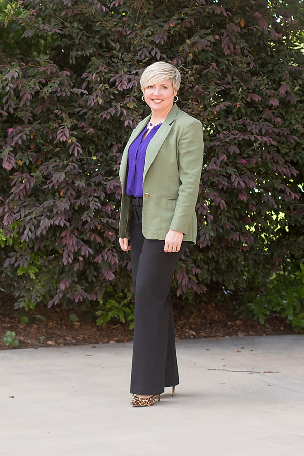 color of the year, office outfit, olive blazer