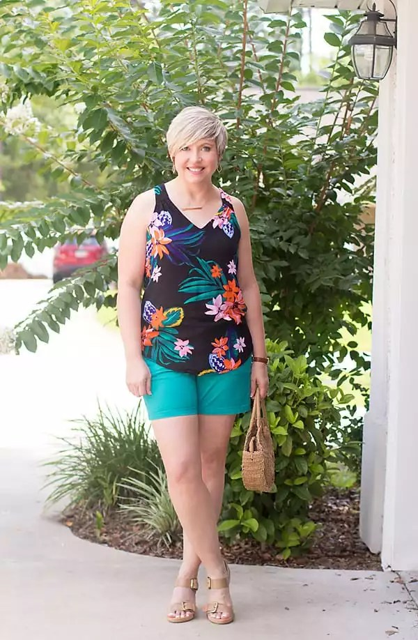 floral top and colored shorts