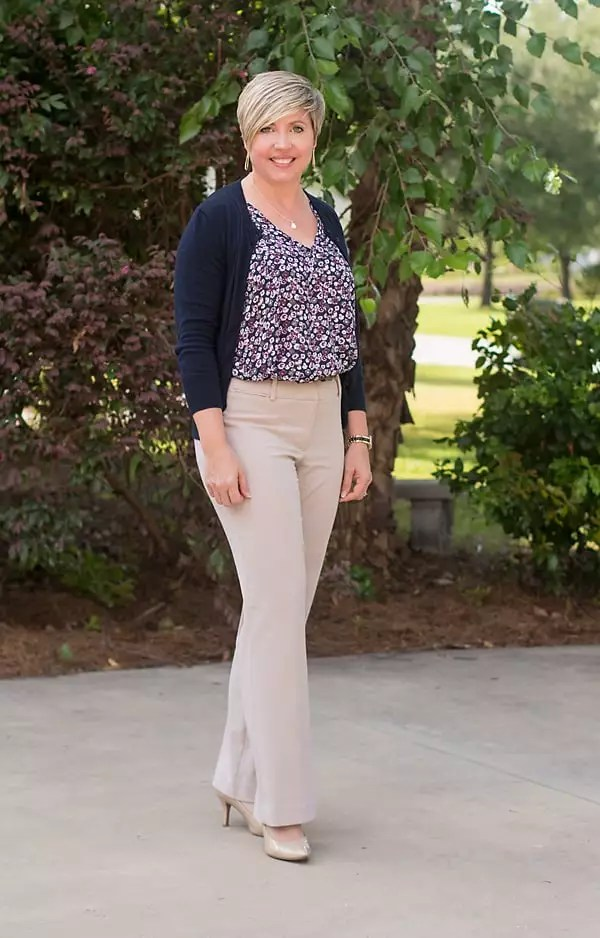 floral blouse, summer cardigan work outfit