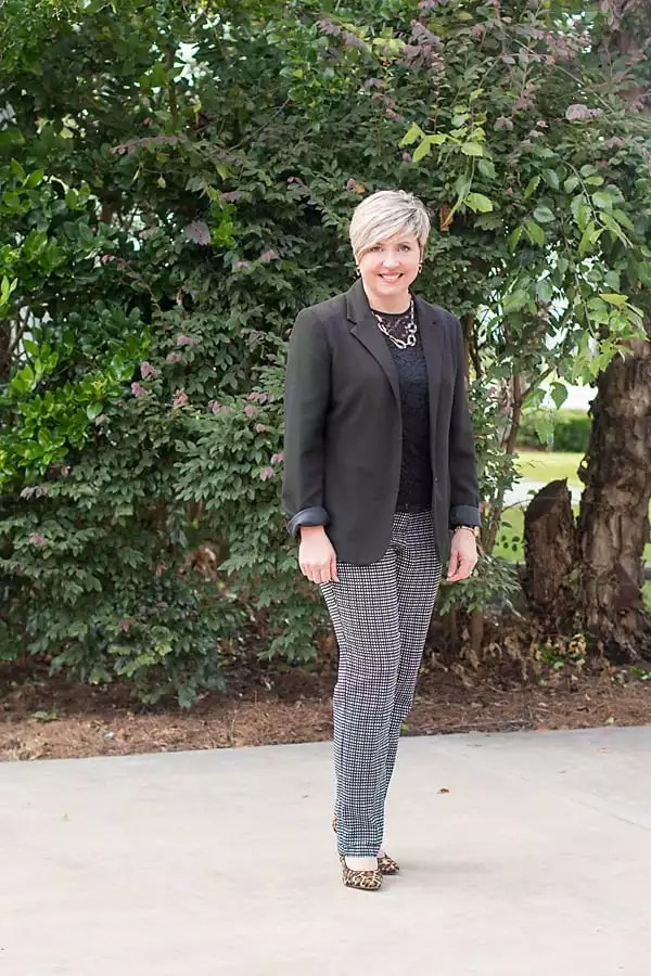 black and white check pants, women's office outfit, black blazer
