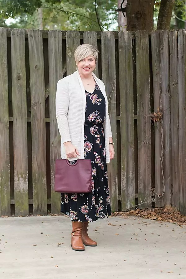 dress with cardigan