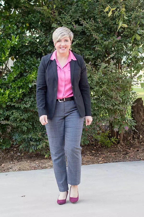 womens work wear, fall work wear, plaid pants