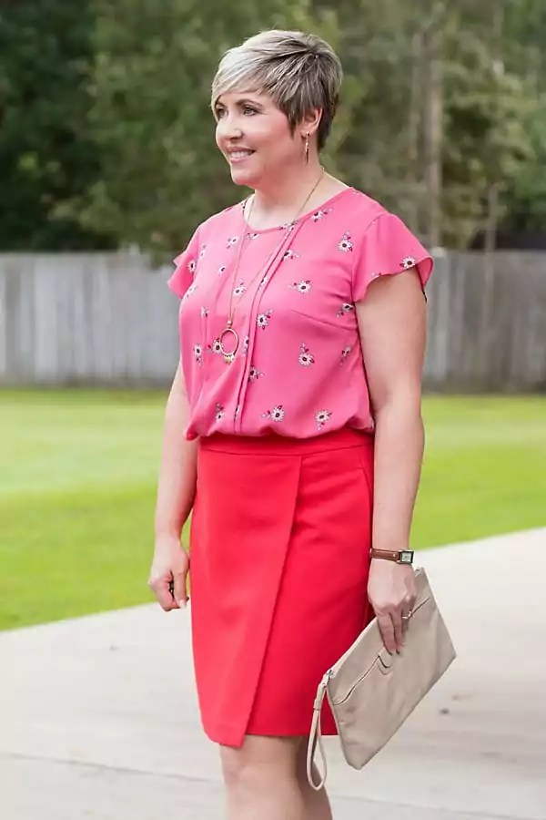 JCPenney rose flutter sleeve top