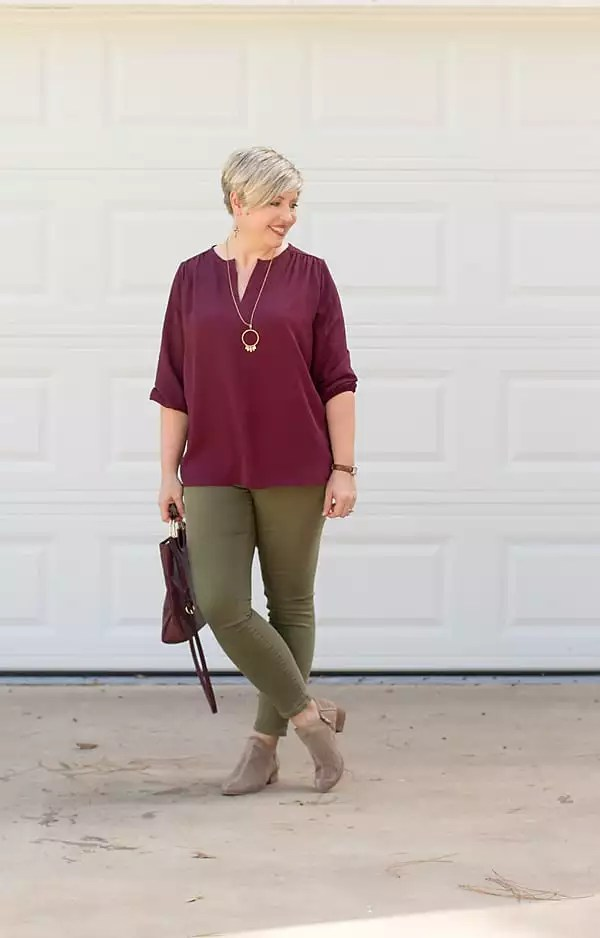 burgundy tunic outfit