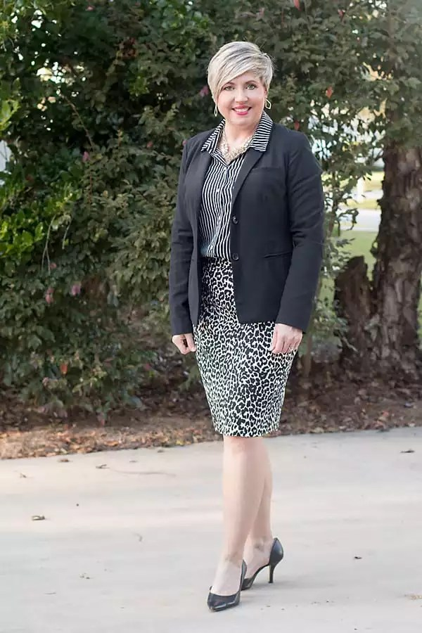 leopard and stripes, office outfit