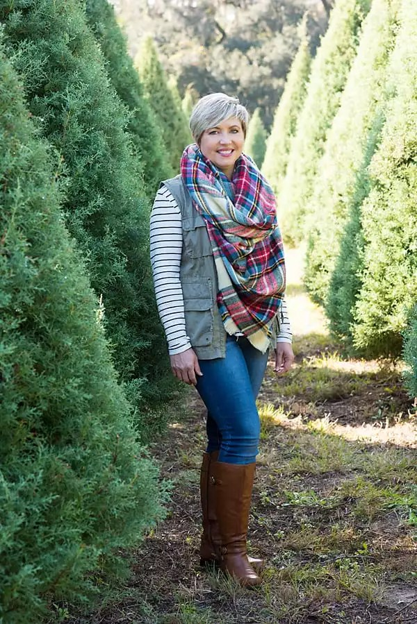 stripes and plaid, utility vest, blanket scarf