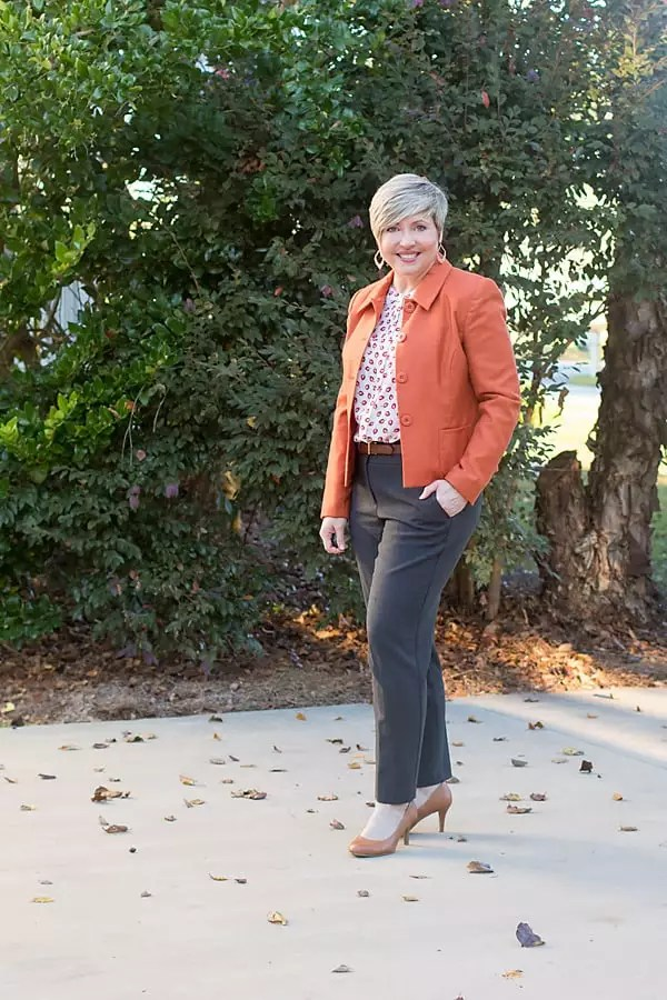 how to wear rust orange to the office