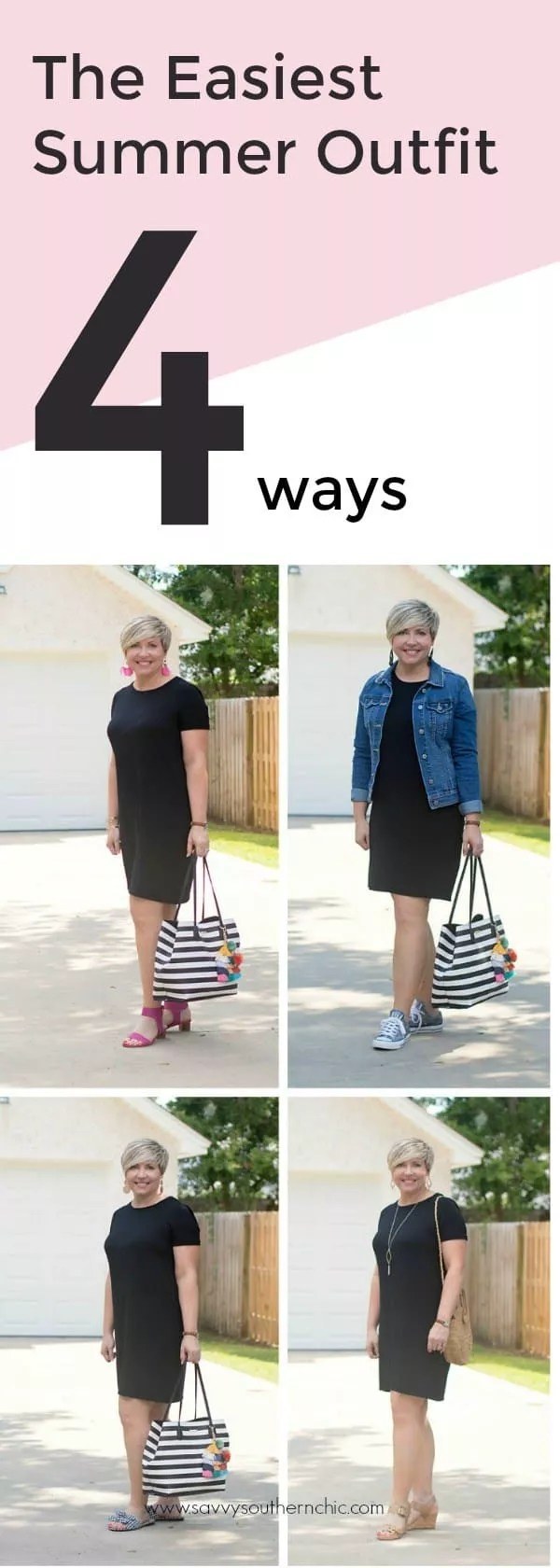 black tshirt dress styled four ways