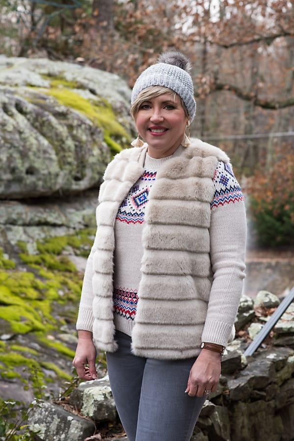 winter essentials, faux fur vest and pom pom beanie