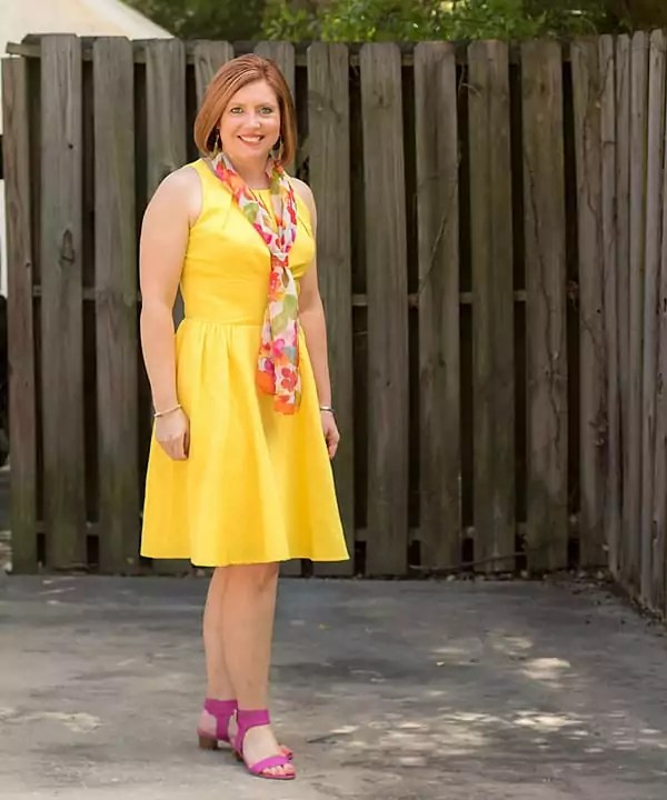 yellow fit and flare dress