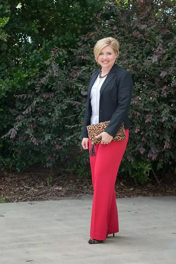 red pants with black blazer