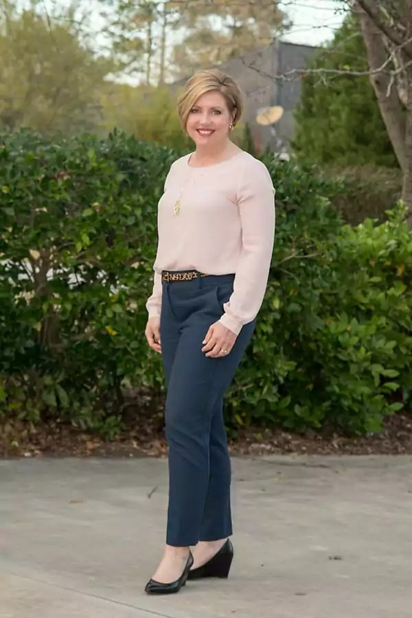 Blush top with heathered navy ankle pants