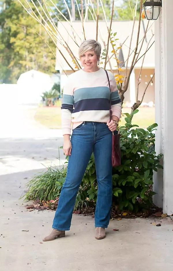 womens fashion outfit with boot cut jeans