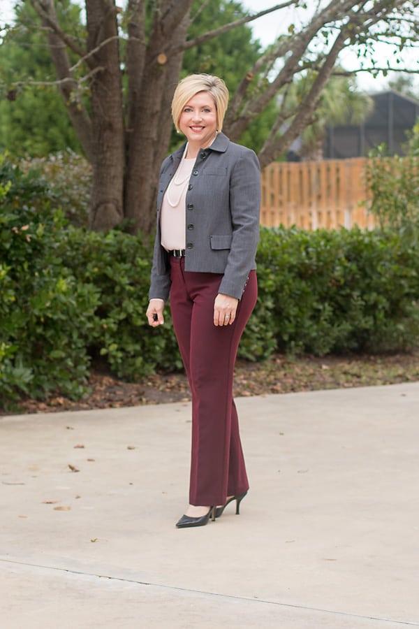 Burgundy slacks with blush top