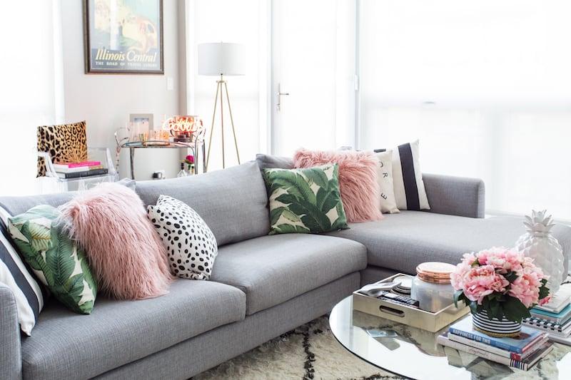 living room inspiration, home decor, grey sectional