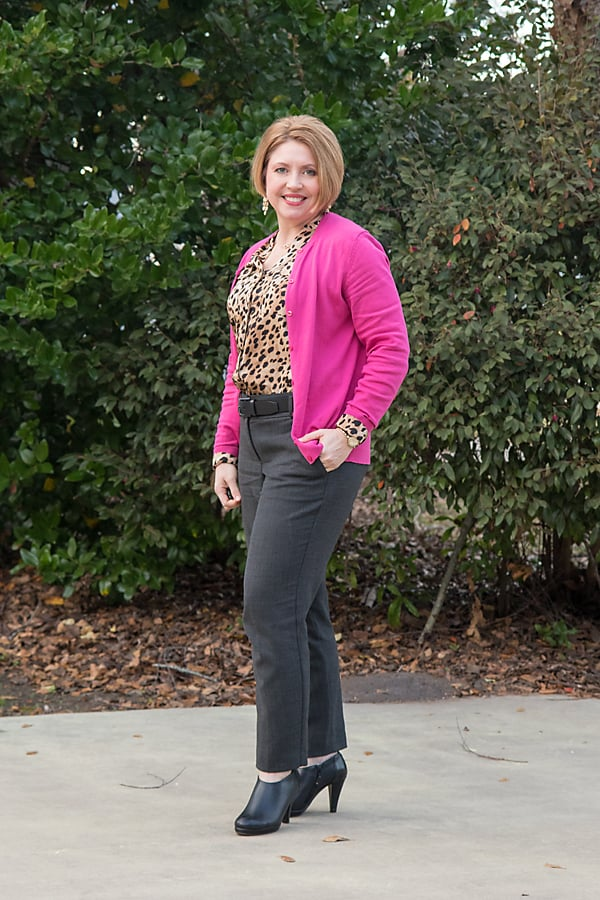Hot pink cardigan with grey ankle pants