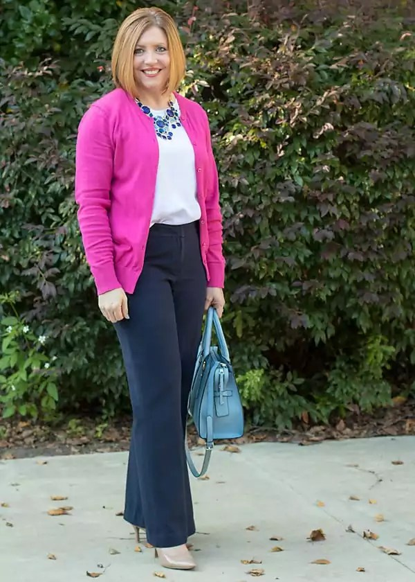 Hot pink and navy office outfit