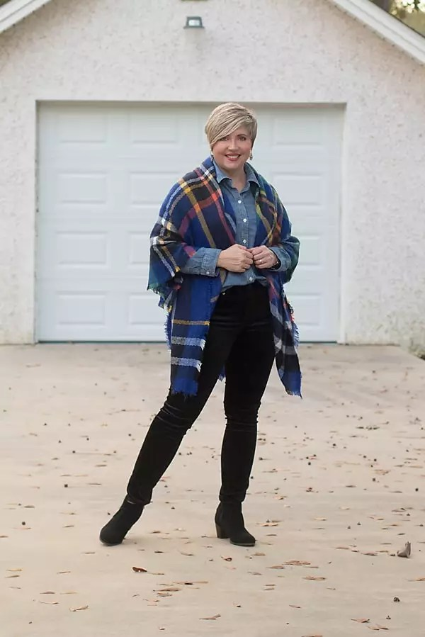 winter outfit with blanket scarf and velvet jeans