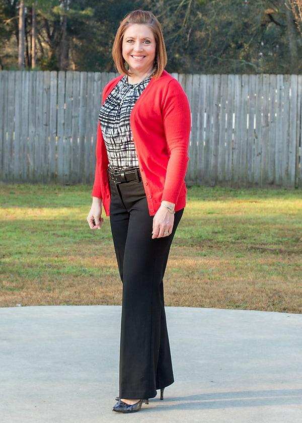 Red cardigan black pants