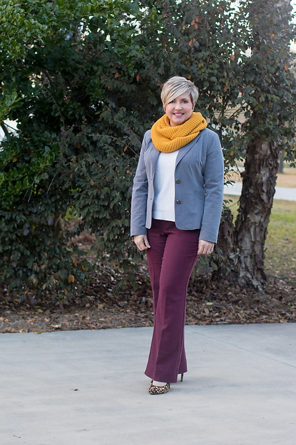 winter office outfit with blazer and infinity scarf