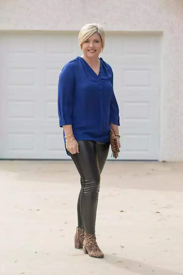 cobalt tunic with leather leggings and leopard booties