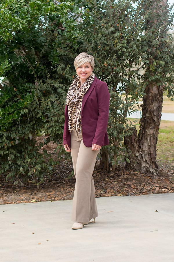 burgundy blazer with leopard scarf office outfit