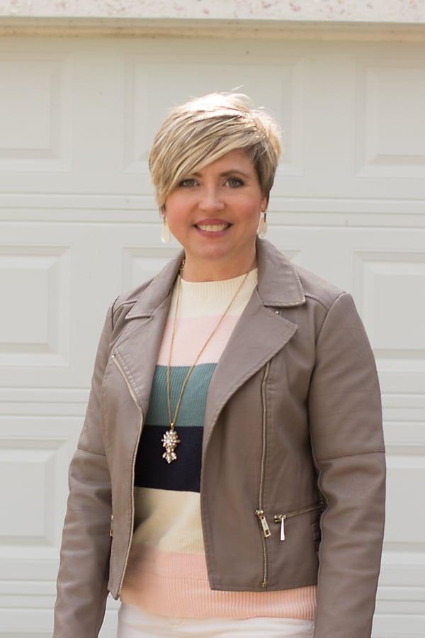 Kendra Scott Marty earrings/moto jacket/ color block stripe sweater