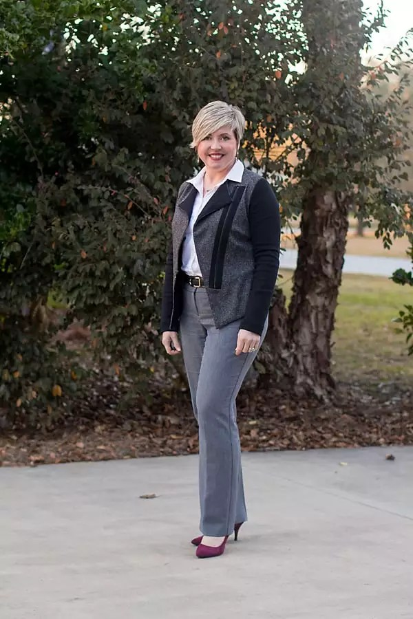 Savvy Southern Chic is white button up with moto blazer, glen plaid trousers, and burgundy pumps.