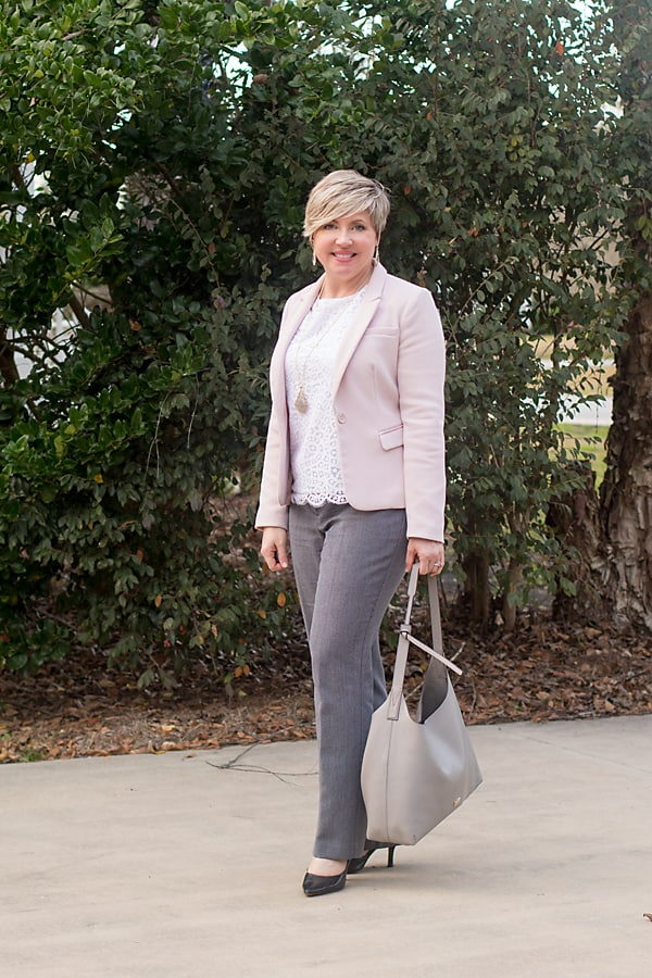 transitioning to spring with color and fabric/ blush blazer and lace top