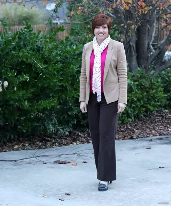 camel blazer with brown pants and hot pink sweater