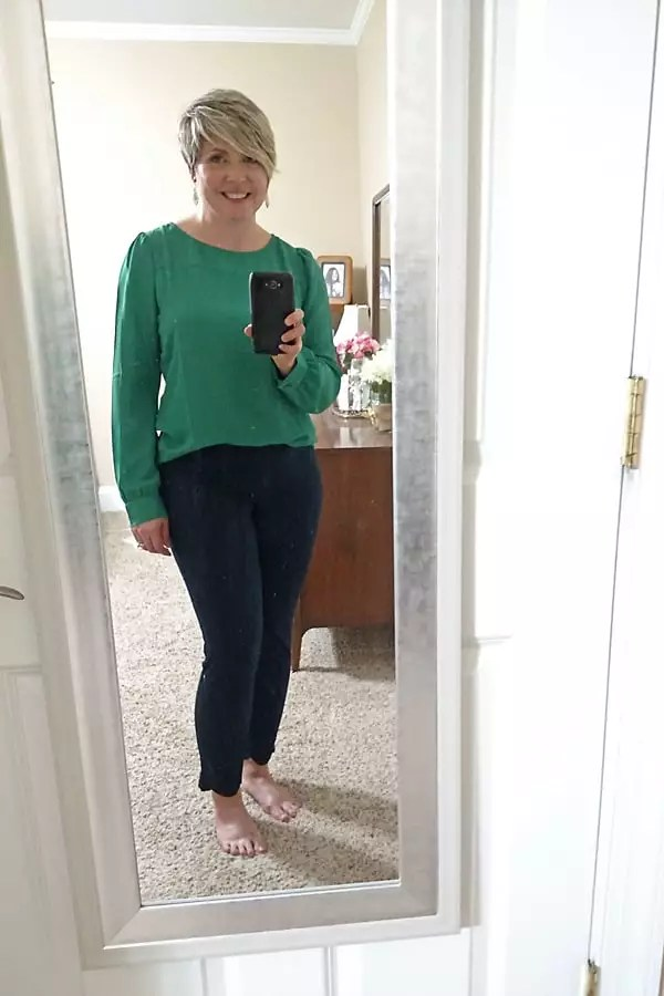 JCrew Factory boatneck top and winnie scalloped hem pant