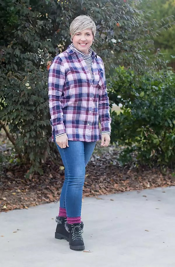 plaid shirt, jeans, and striped turtleneck outfit