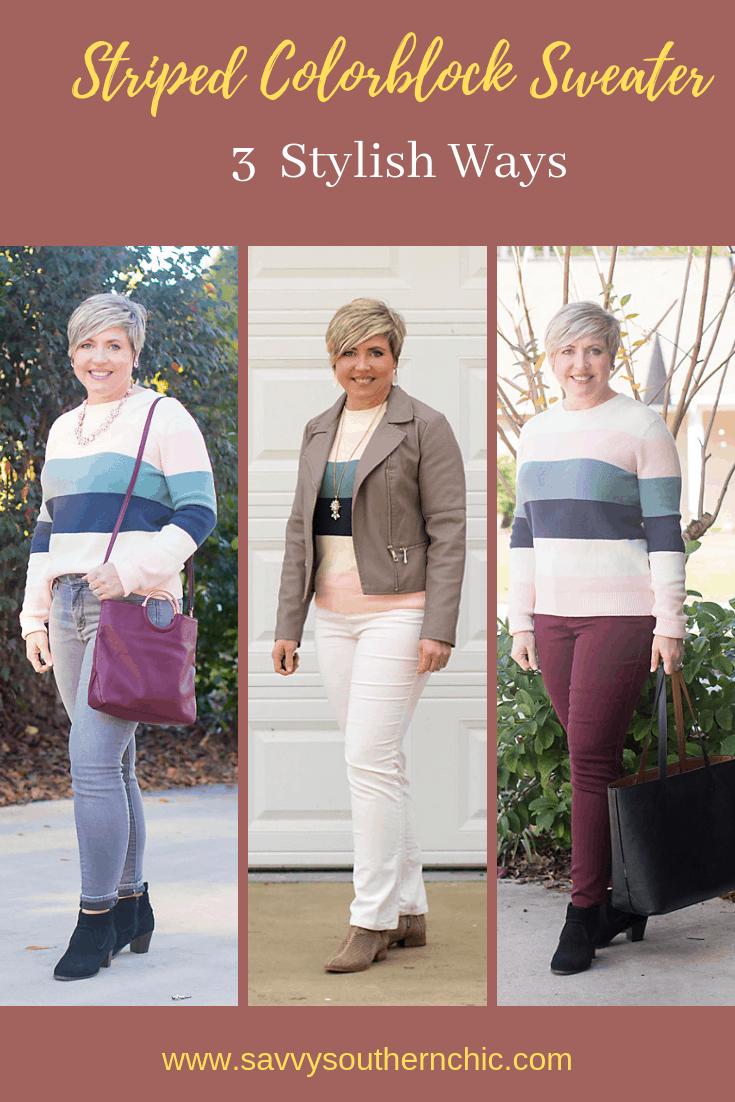 stripe color block sweater three ways