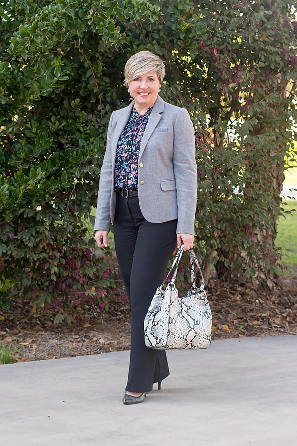 grey blazer with floral top and black pants