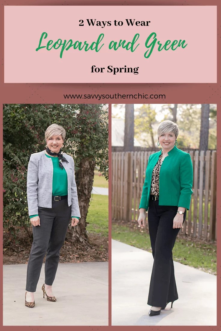 leopard and green office outfits
