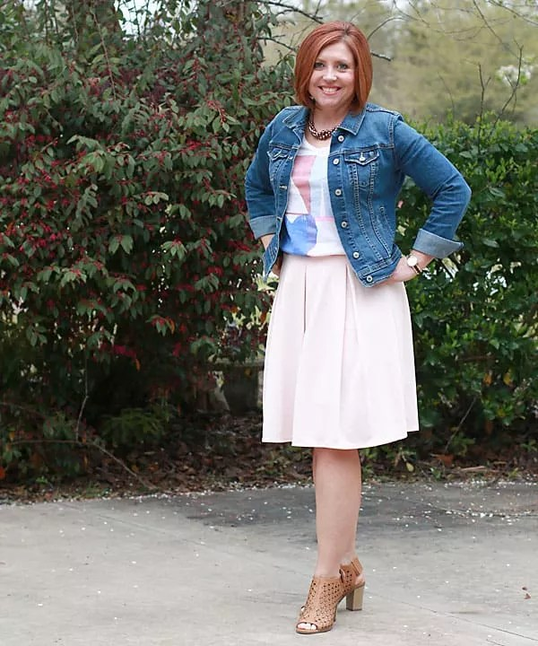 denim jacket and midi skirt outfit