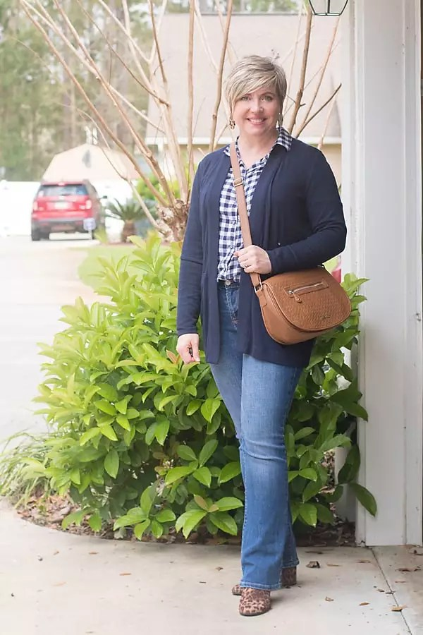 gingham shirt with navy cardigan