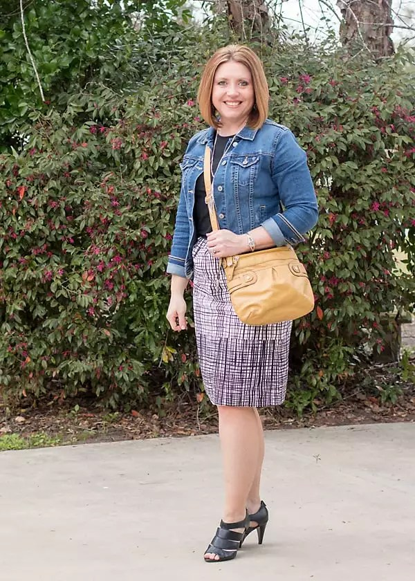denim jacket for spring with skirt and tee