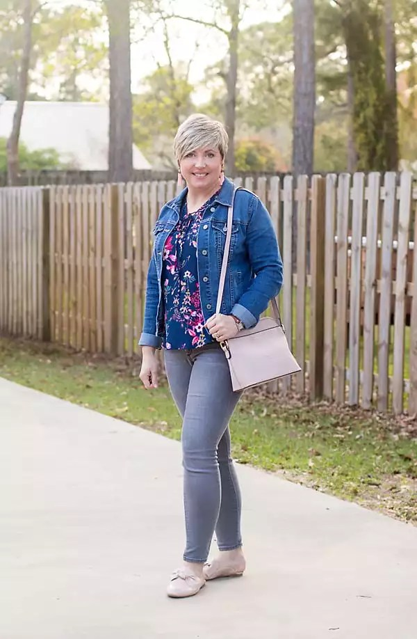 floral blouse and blush mules