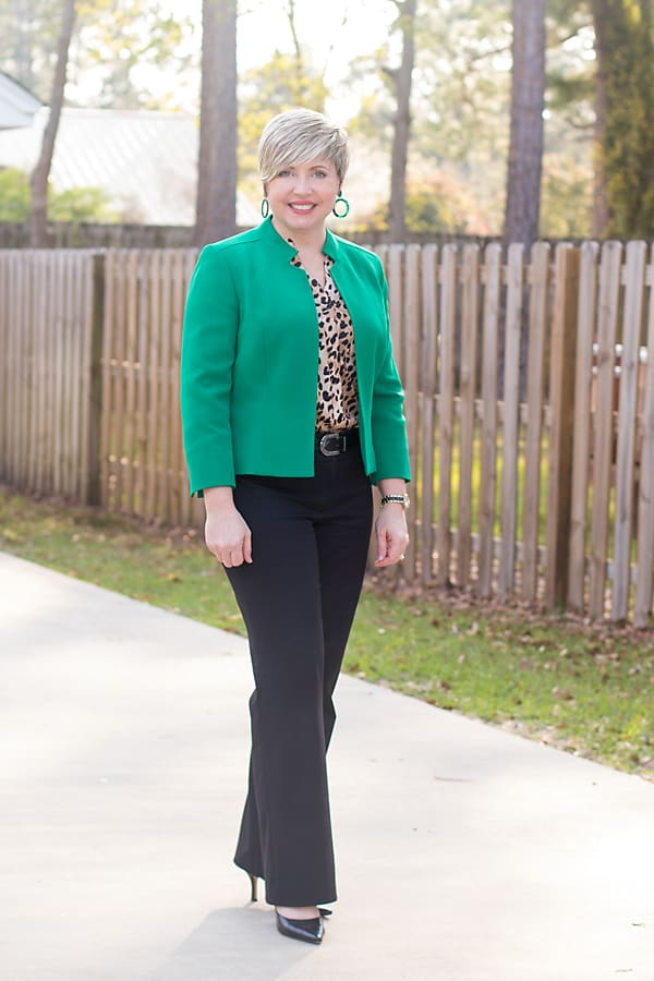 office outfit with green jacket