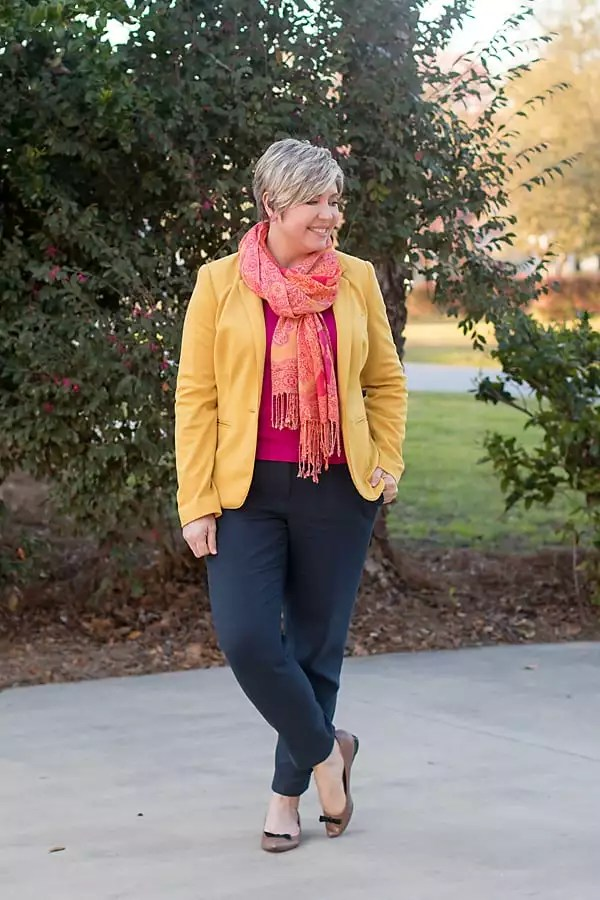 mustard and pink scarf