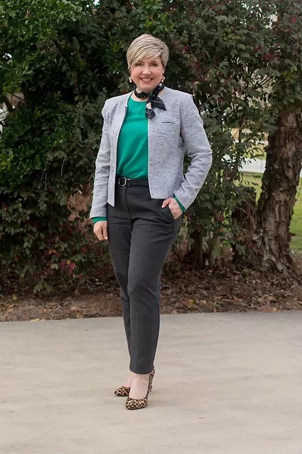women's spring office attire/ green blouse with grey ankle pants