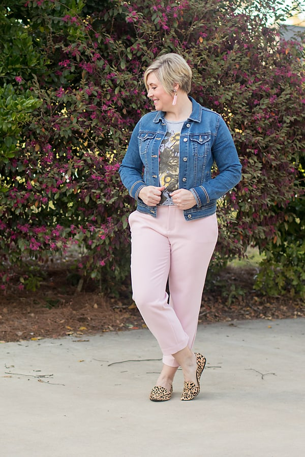 denim jacket for spring with crop pants