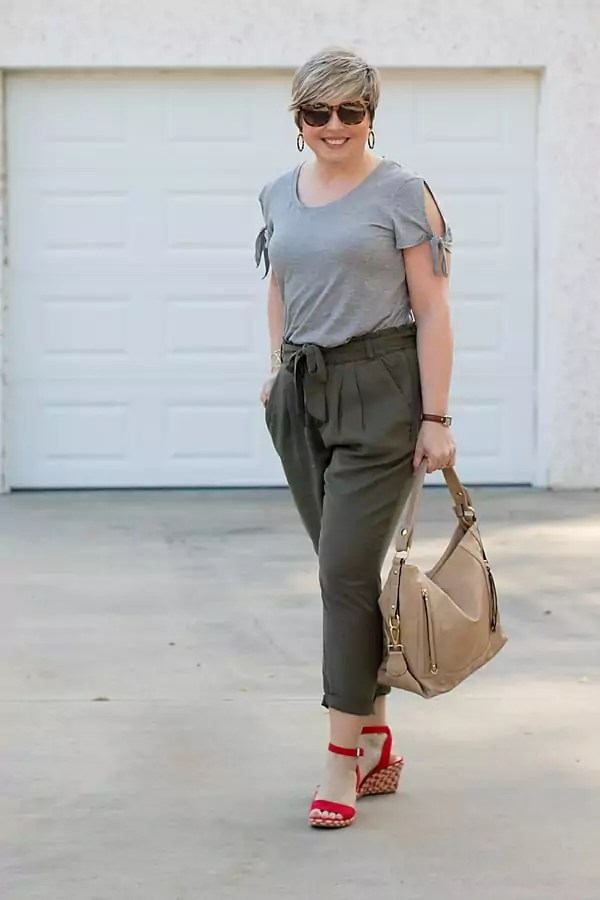 tie sleeve grey tee with olive paper bag pants