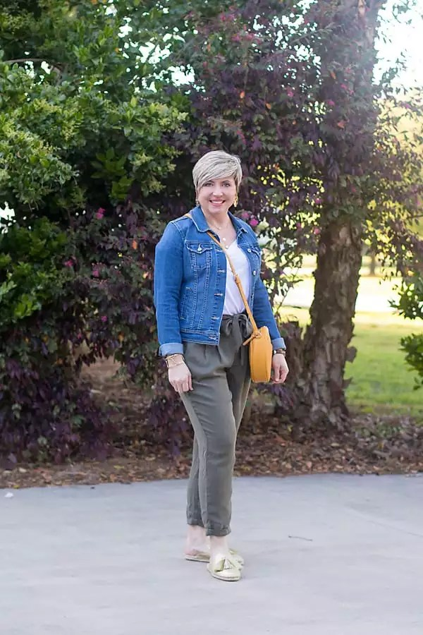 paper bag waist pants with denim jacket