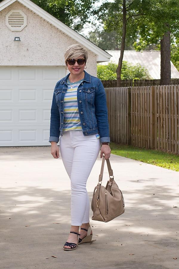 spring essentials white jeans and denim jacket