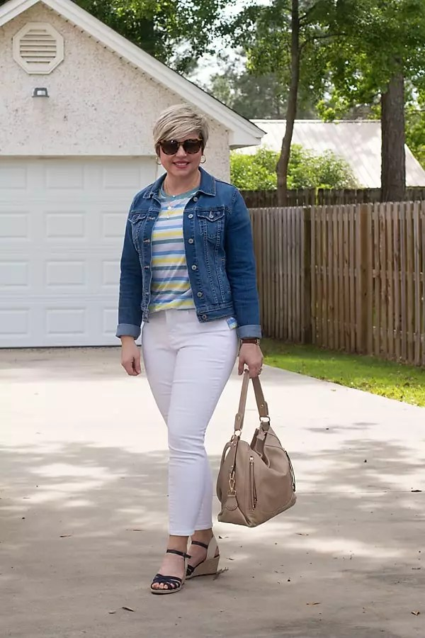 spring essentials white jeans and denim jacket